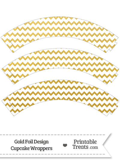 Gold Foil Chevron Cupcake Wrappers from PrintableTreats.com