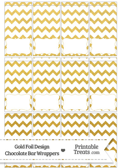 Gold Foil Chevron Mini Chocolate Bar Wrappers from PrintableTreats.com