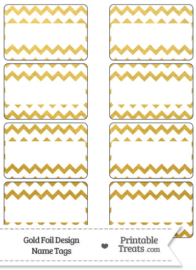 Gold Foil Chevron Name Tags from PrintableTreats.com