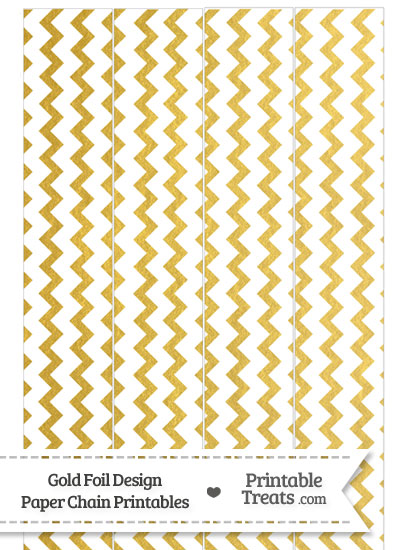 Gold Foil Chevron Paper Chains from PrintableTreats.com