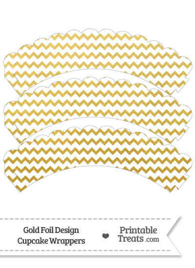 Gold Foil Chevron Scalloped Cupcake Wrappers from PrintableTreats.com