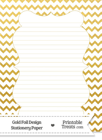 Gold Foil Chevron Stationery Paper from PrintableTreats.com