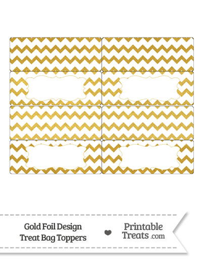 Gold Foil Chevron Treat Bag Toppers from PrintableTreats.com