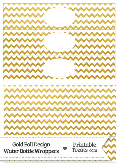 Gold Foil Chevron Water Bottle Wrappers from PrintableTreats.com