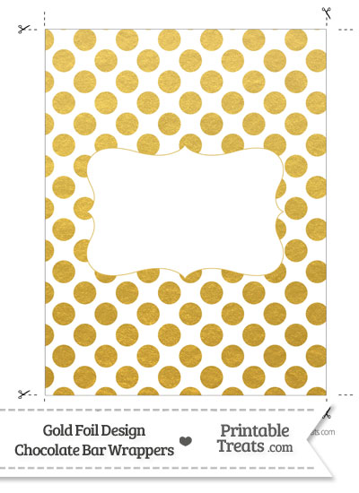 Gold Foil Dots Chocolate Bar Wrappers from PrintableTreats.com