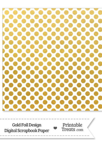 Gold Foil Dots Digital Scrapbook Paper from PrintableTreats.com