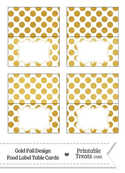 Gold Foil Dots Food Labels from PrintableTreats.com