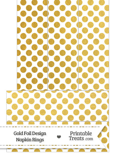 Gold Foil Dots Napkin Rings from PrintableTreats.com