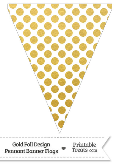 Gold Foil Dots Pennant Banner Flag from PrintableTreats.com