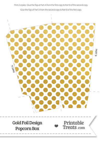 Gold Foil Dots Popcorn Box from PrintableTreats.com