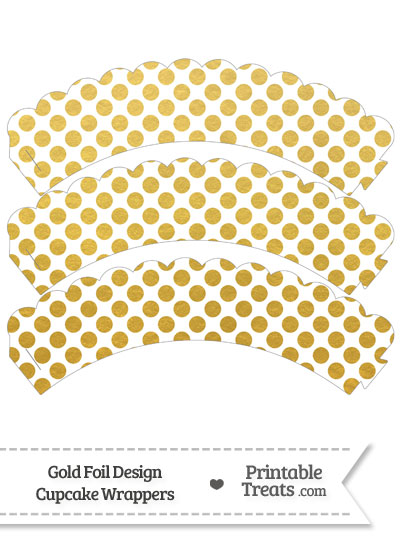 Gold Foil Dots Scalloped Cupcake Wrappers from PrintableTreats.com