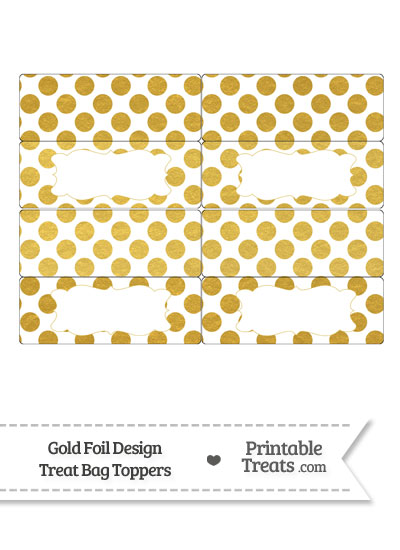 Gold Foil Dots Treat Bag Toppers from PrintableTreats.com