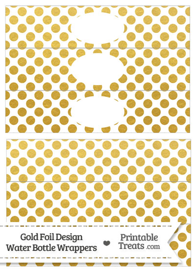 Gold Foil Dots Water Bottle Wrappers from PrintableTreats.com