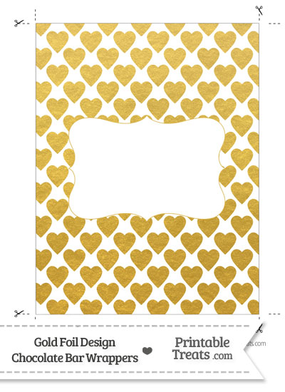 Gold Foil Hearts Chocolate Bar Wrappers from PrintableTreats.com