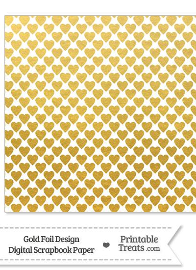 Gold Foil Hearts Digital Scrapbook Paper from PrintableTreats.com