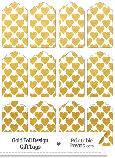 Gold Foil Hearts Gift Tags from PrintableTreats.com