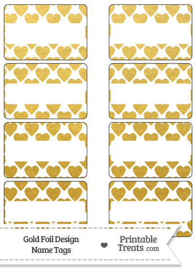Gold Foil Hearts Name Tags from PrintableTreats.com