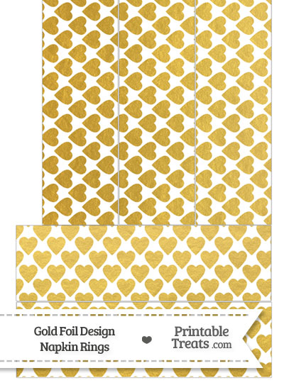 Gold Foil Hearts Napkin Rings from PrintableTreats.com