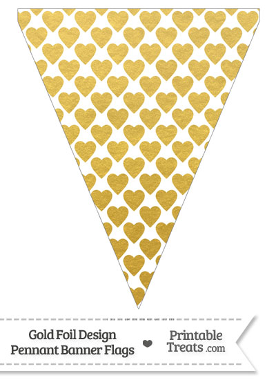 Gold Foil Hearts Pennant Banner Flag from PrintableTreats.com