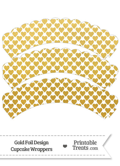 Gold Foil Hearts Scalloped Cupcake Wrappers from PrintableTreats.com