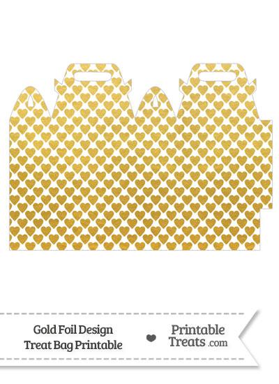 Gold Foil Hearts Treat Bag from PrintableTreats.com