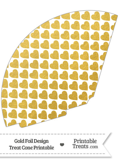 Gold Foil Hearts Treat Cone from PrintableTreats.com