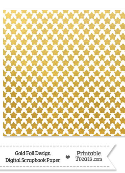 Gold Foil Stars Digital Scrapbook Paper from PrintableTreats.com