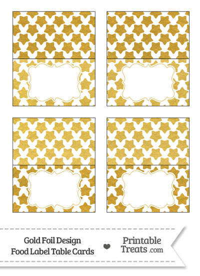 Gold Foil Stars Food Labels from PrintableTreats.com