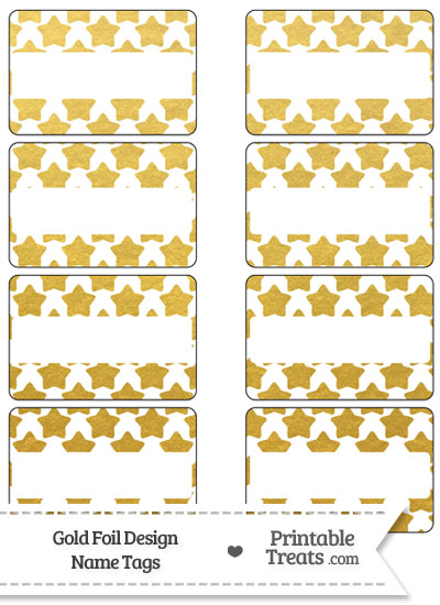 Gold Foil Stars Name Tags from PrintableTreats.com