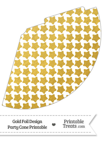 Gold Foil Stars Party Cone from PrintableTreats.com