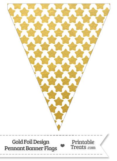 Gold Foil Stars Pennant Banner Flag from PrintableTreats.com