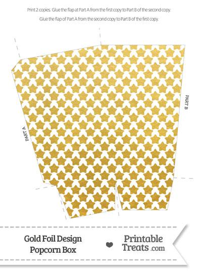 Gold Foil Stars Popcorn Box from PrintableTreats.com