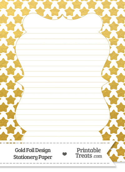 Gold Foil Stars Stationery Paper from PrintableTreats.com