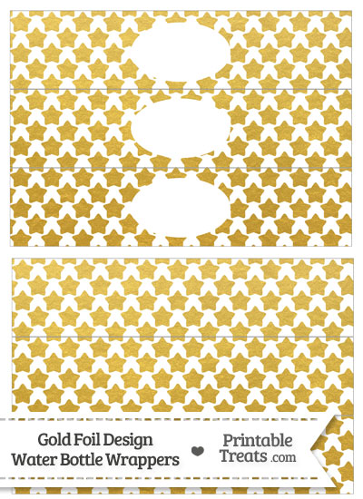 Gold Foil Stars Water Bottle Wrappers from PrintableTreats.com