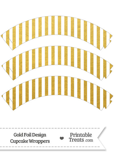 Gold Foil Stripes Cupcake Wrappers from PrintableTreats.com