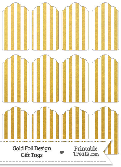Gold Foil Stripes Gift Tags from PrintableTreats.com