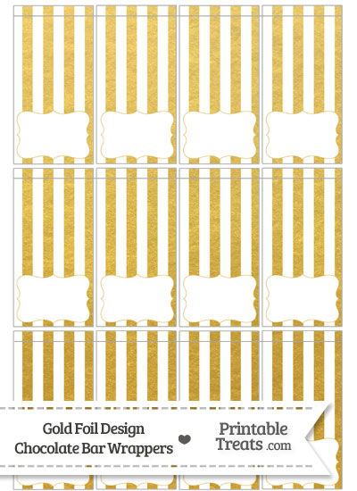 Gold Foil Stripes Mini Chocolate Bar Wrappers from PrintableTreats.com