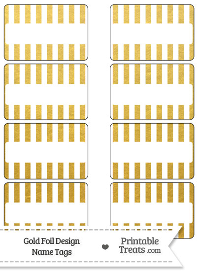Gold Foil Stripes Name Tags from PrintableTreats.com