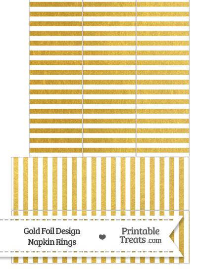 Gold Foil Stripes Napkin Rings from PrintableTreats.com