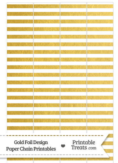 Gold Foil Stripes Paper Chains from PrintableTreats.com