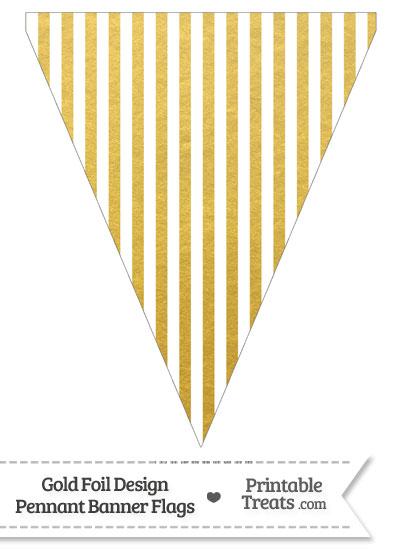 Gold Foil Stripes Pennant Banner Flag from PrintableTreats.com