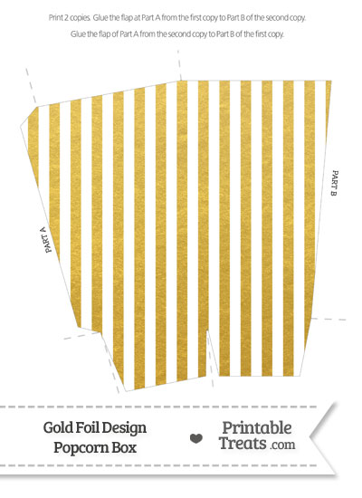 Gold Foil Stripes Popcorn Box from PrintableTreats.com