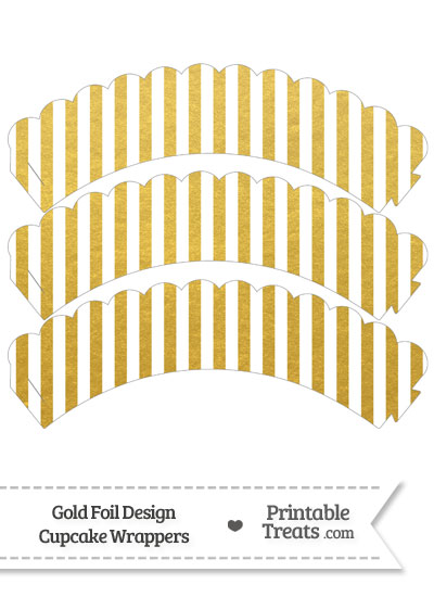 Gold Foil Stripes Scalloped Cupcake Wrappers from PrintableTreats.com