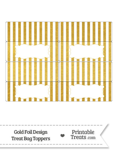 Gold Foil Stripes Treat Bag Toppers from PrintableTreats.com
