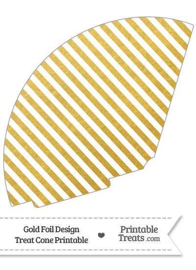 Gold Foil Stripes Treat Cone from PrintableTreats.com