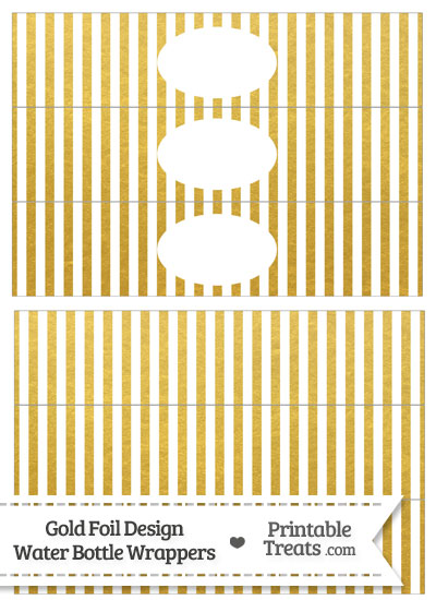 Gold Foil Stripes Water Bottle Wrappers from PrintableTreats.com