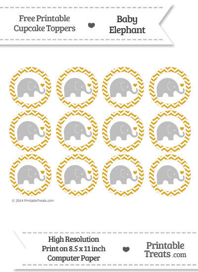 Goldenrod Chevron Baby Elephant Cupcake Toppers from PrintableTreats.com