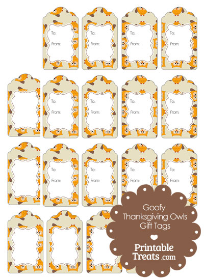 Goofy Thanksgiving Owls Gift Tags from PrintableTreats.com