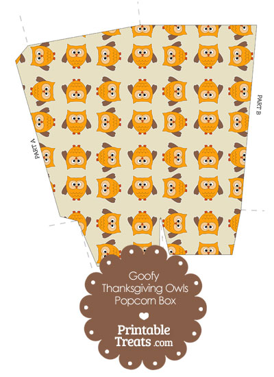 Goofy Thanksgiving Owls Popcorn Box from PrintableTreats.com