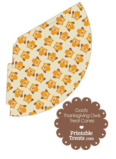 Goofy Thanksgiving Owls Printable Treat Cone from PrintableTreats.com